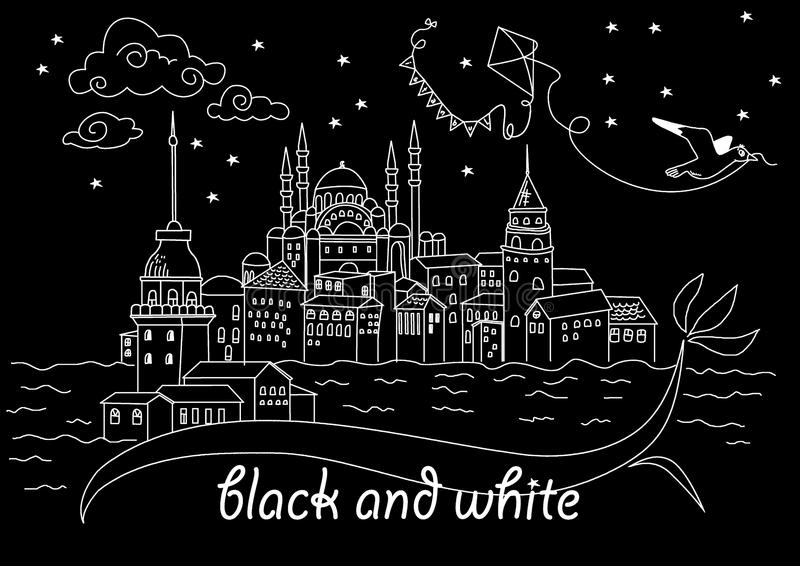 Baground черно-белый Стамбул иллюстрация штока