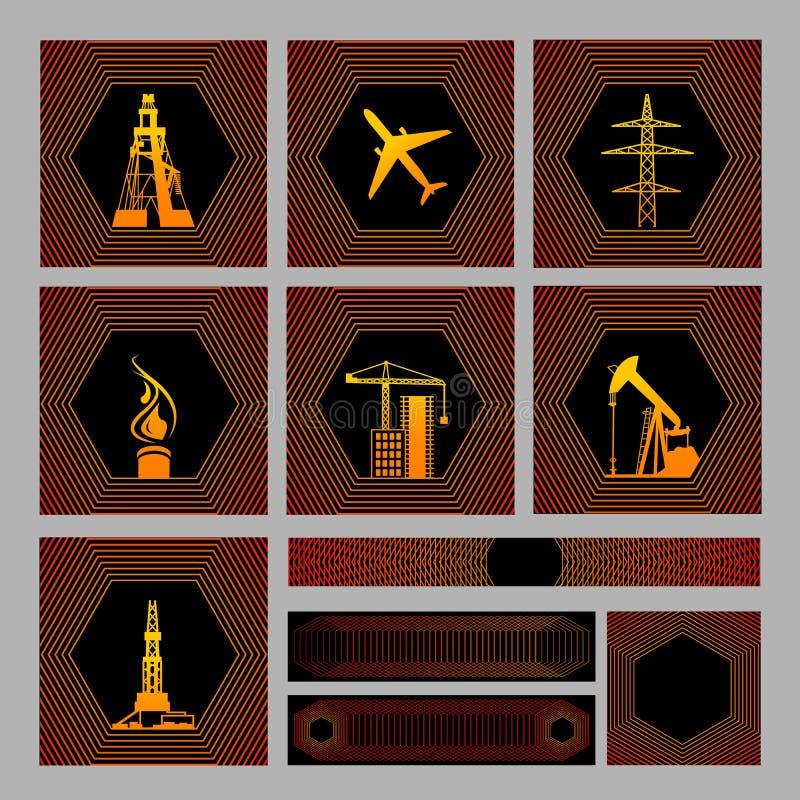 bagroundssymbolspacke sju vektor illustrationer
