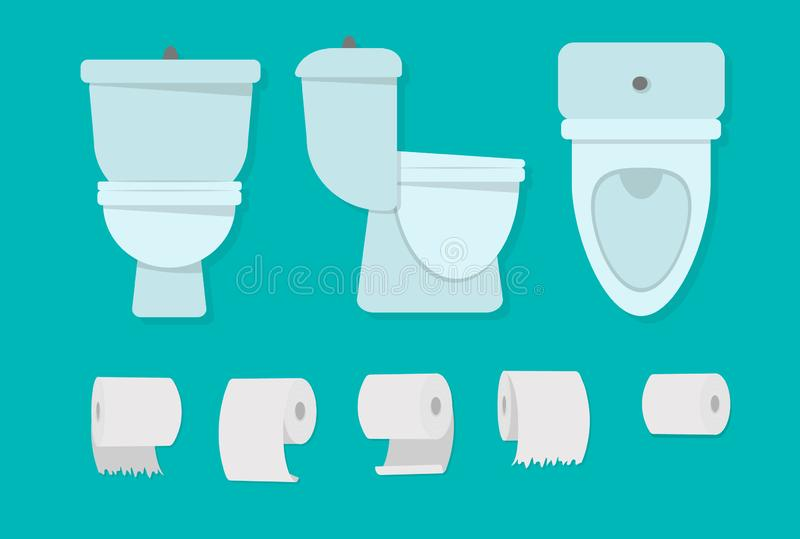 Toilet bowl bathroom. Flat cartoon toilet bowl icon. The concept of the bathroom. Vector illustration for world toilet day stock illustration
