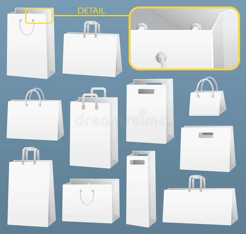 Bags. White bags. Vector illustration, easy to change color