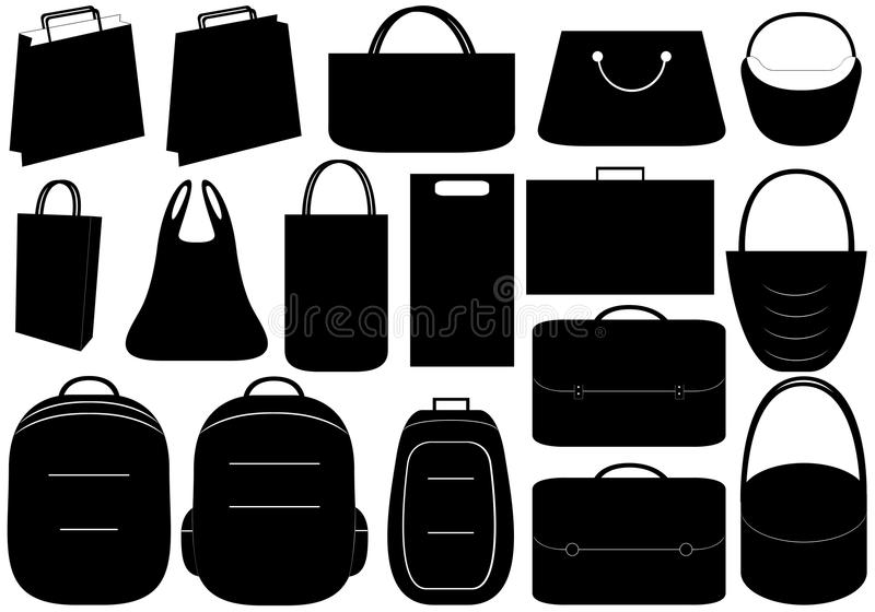 Bags. Illustration of different bags isolated on white background vector illustration