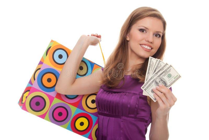 bags barn för kvinna för shopping för handpengar arkivfoto