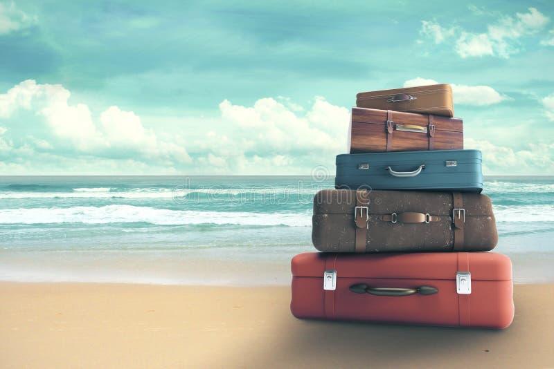 Bags on beach stock illustration