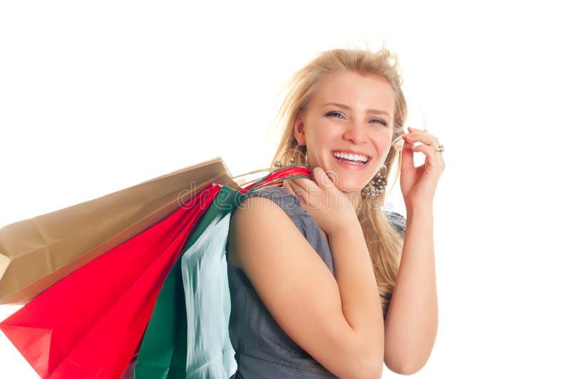 bags blond älskvärd shopping arkivbild