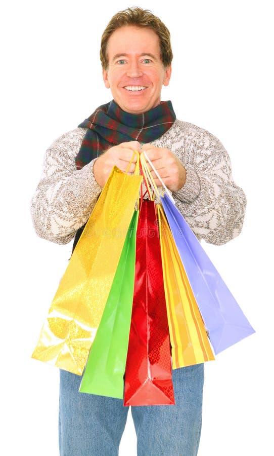 bags carrying isolated man senior shopping στοκ εικόνες με δικαίωμα ελεύθερης χρήσης