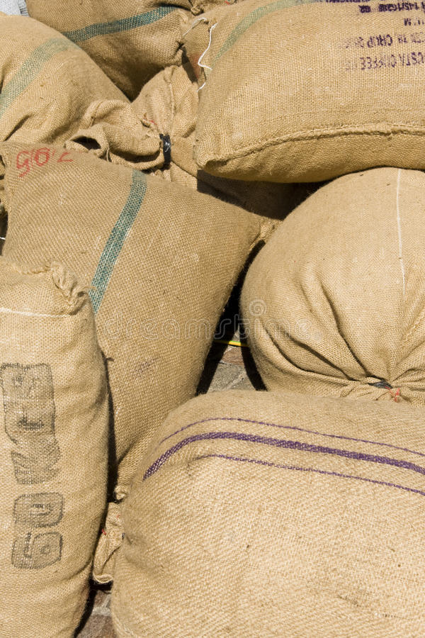 Bags of coffee stock photography