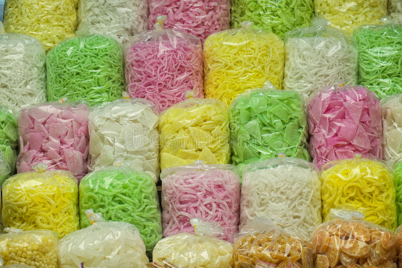 Bags of Colorful Candy, Vietnam royalty free stock photography