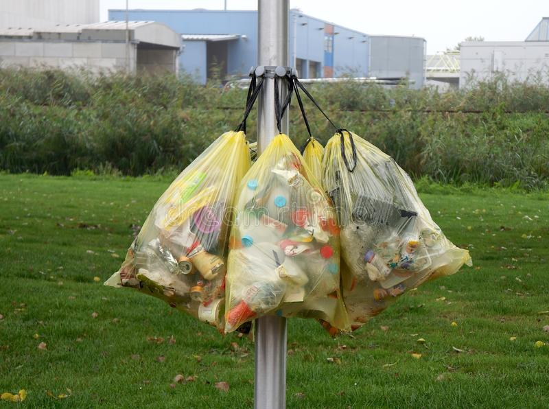 Bags containing plastic waste in the Netherlands royalty free stock photo