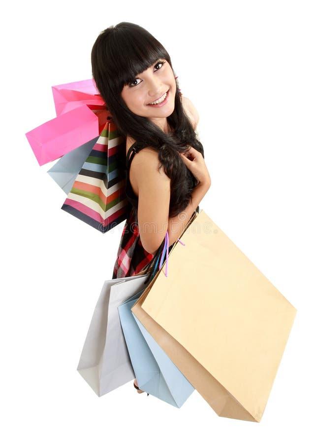 bags den älskvärda shoppingkvinnan arkivfoton