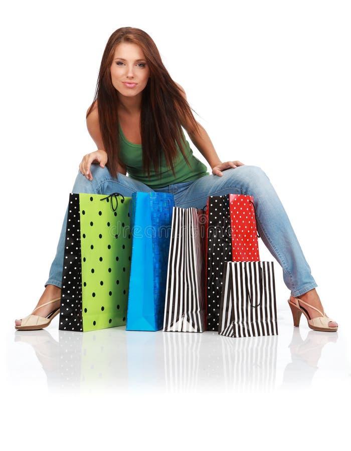 bags den färgrika shoppingkvinnan royaltyfria foton