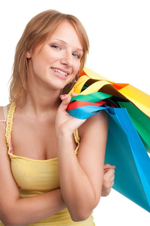 bags den färgrika shoppingkvinnan royaltyfri bild