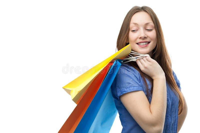 bags den skönhet clored shoppa kvinnan arkivfoton