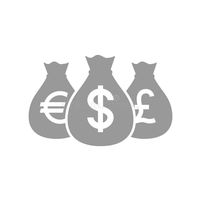 Bags Of Dollar Pound And Euro Money Icon Euros Dollars And Pounds
