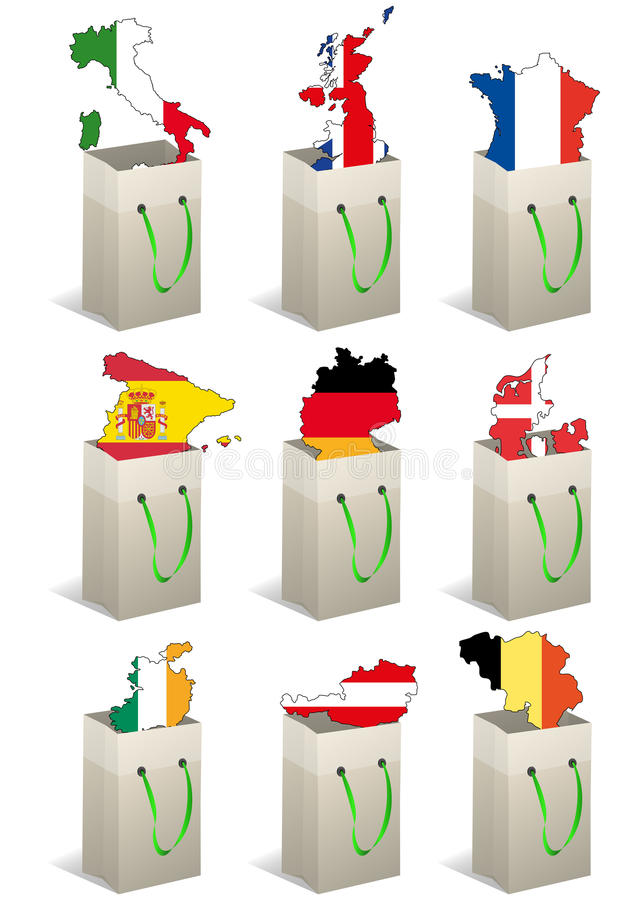 bags Europa vektor illustrationer