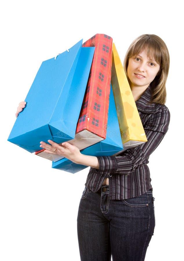 bags flickan isolerad shoppa white arkivbild