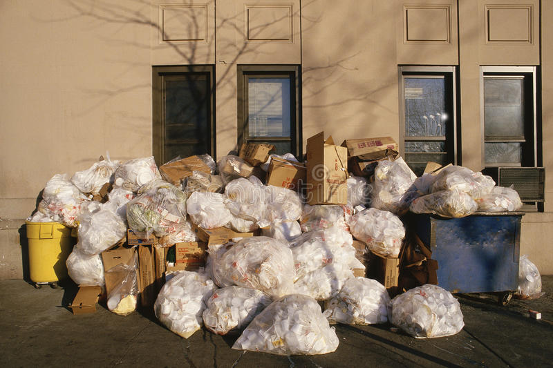 Bags of garbage stock images