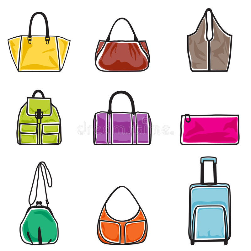 Download Bags icon set stock vector. Illustration of background - 26974310