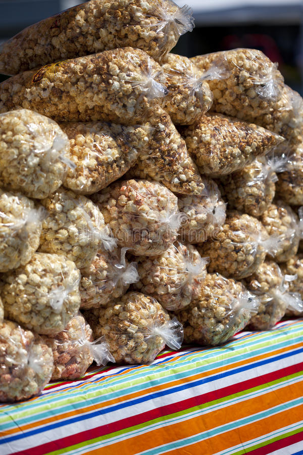 Bags Of Kettle Corn. At the farmers market royalty free stock photography