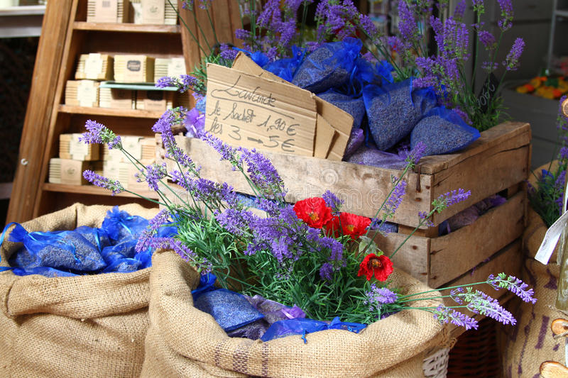Bags of lavender seeds at market in Menton, France royalty free stock image