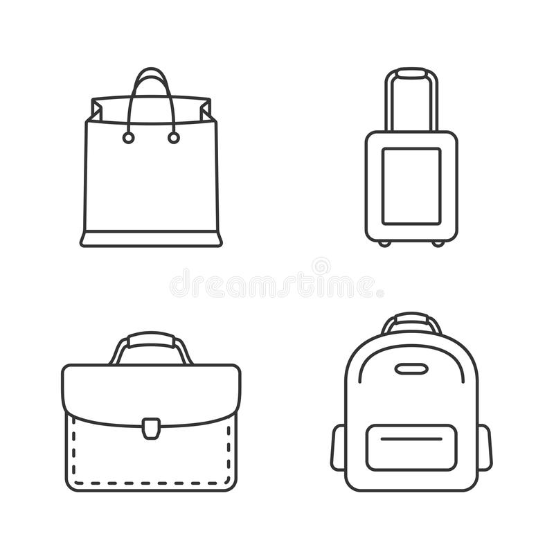 Bags Line Icons. Four bags line icons - shopping bag, suitcase, briefcase, backpack stock illustration