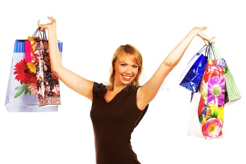 bags lycklig shopping för flicka royaltyfri fotografi