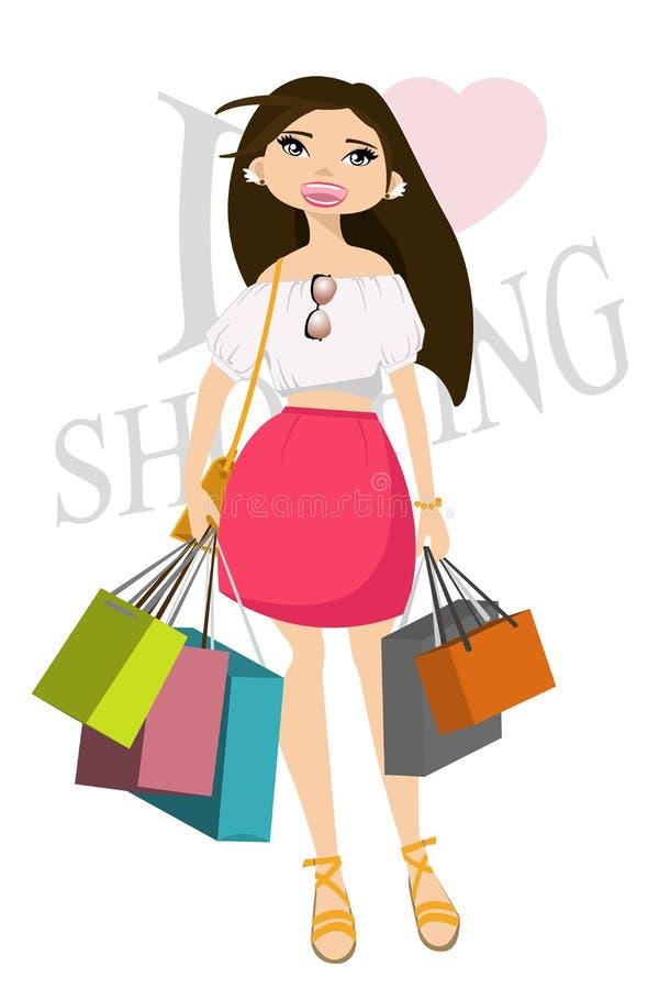 bags lycklig shopping för flicka också vektor för coreldrawillustration stock illustrationer