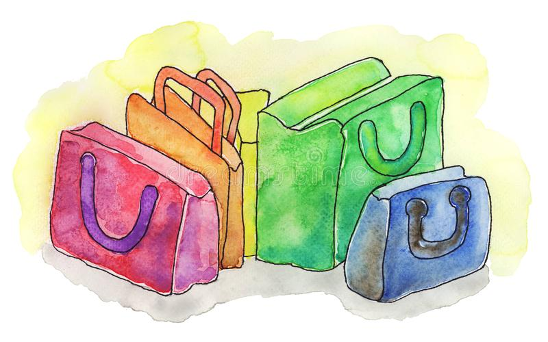 Bags painted in watercolor - Rainbow colors royalty free stock photos