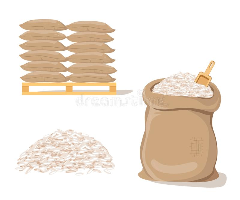 Bags on Pallet. Sack with Pile of Rice. Vector illustration flat design stock illustration