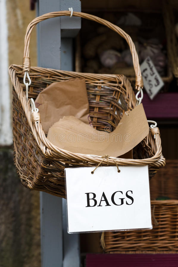 Bags - Paper Bags - Basket - Shop stock image