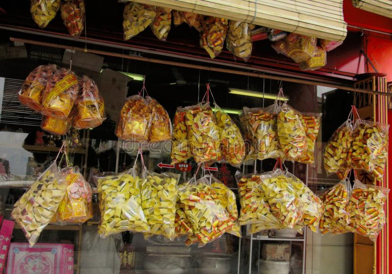 Bags Of Prefolded Joss Paper. That is hung up for sale royalty free stock photography