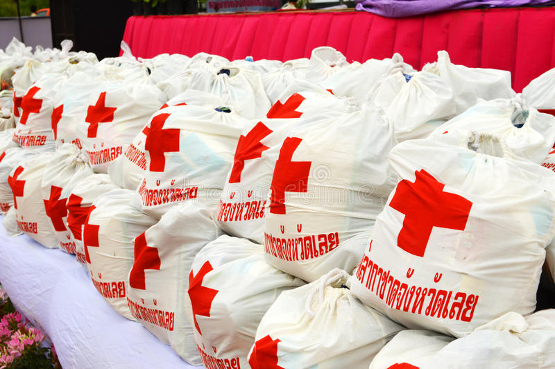 Bags of Red Cross stock photos