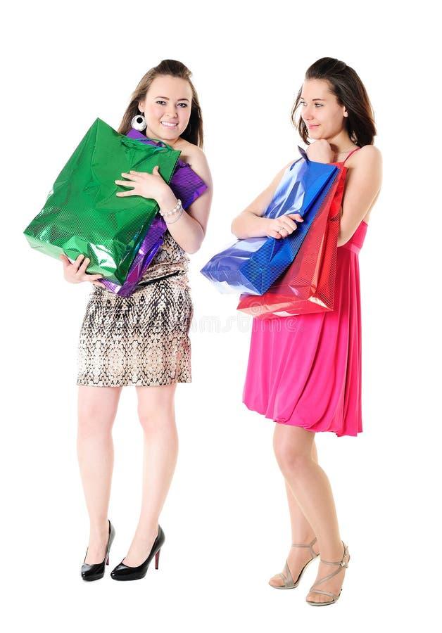 bags roligt shoppa för flickor royaltyfri bild