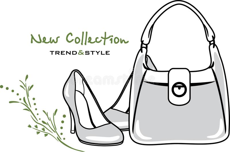 Bags and shoes. New collection. Icon for vintage design stock photos