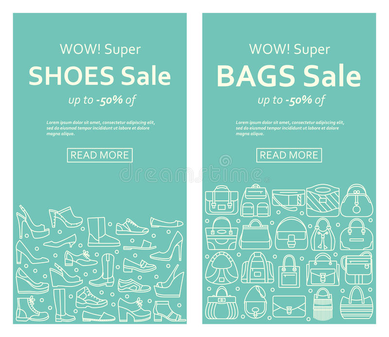 Bags and shoes sale banners made of outlined icons stock illustration