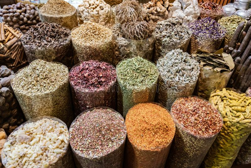 Bags of spices in a market stall royalty free stock images