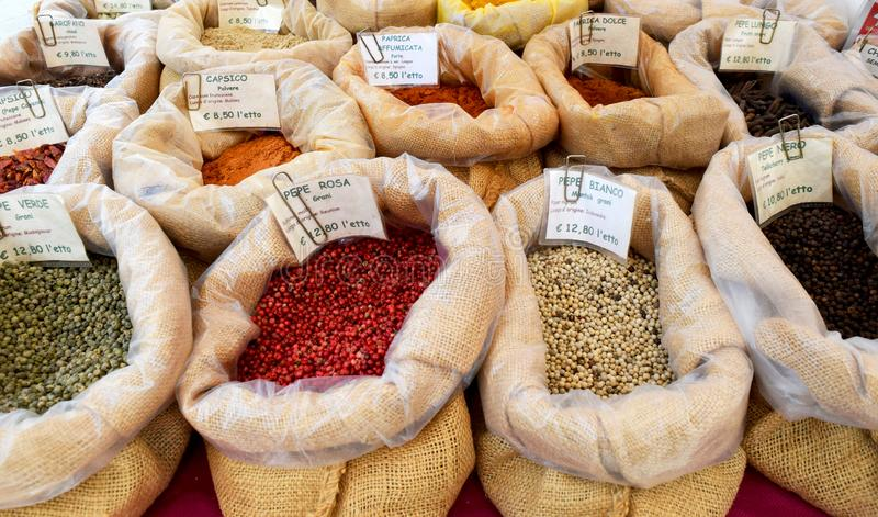 Bags with spices for sale stock images