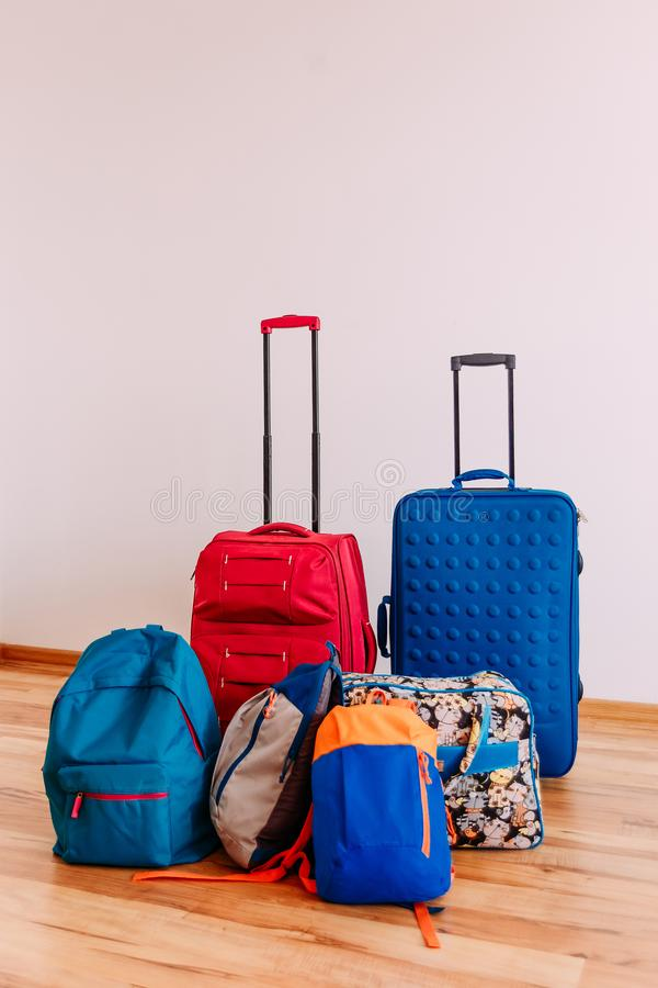 Bags and suitcases for travel stock image