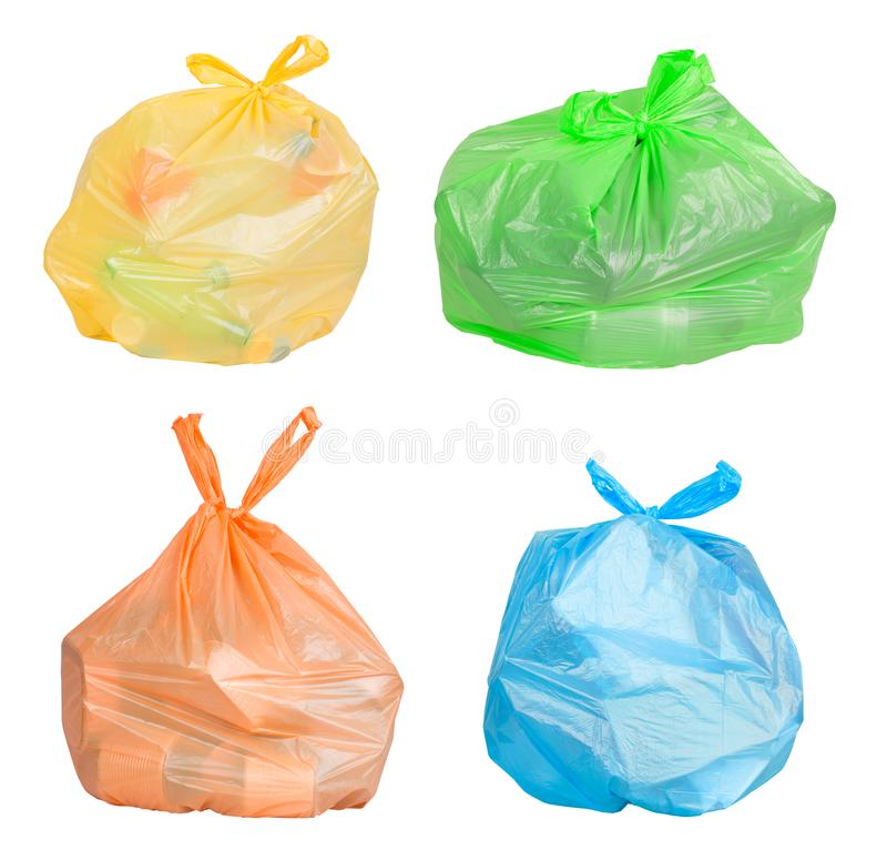 Bags with waste sorted for recycling royalty free stock images
