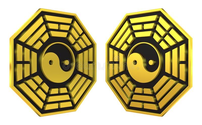 Bagua Yin Yang symbolu złoty znak ilustracja wektor