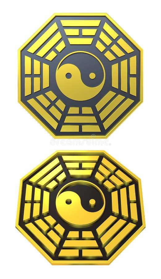 Bagua Yin Yang symbolu złoty znak royalty ilustracja