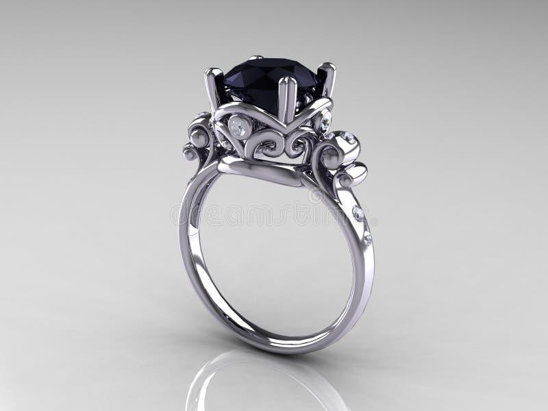 Bague de fiançailles d'antiquité de platine de diamant noir photos libres de droits