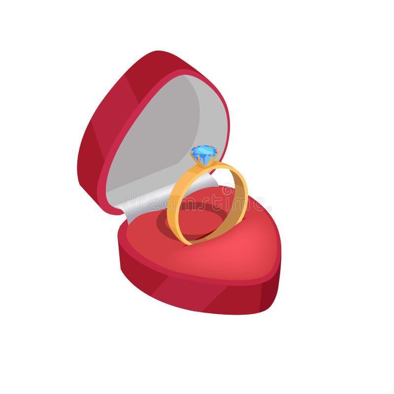Bague de fiançailles d'or avec Diamond In Red Box bleu illustration libre de droits