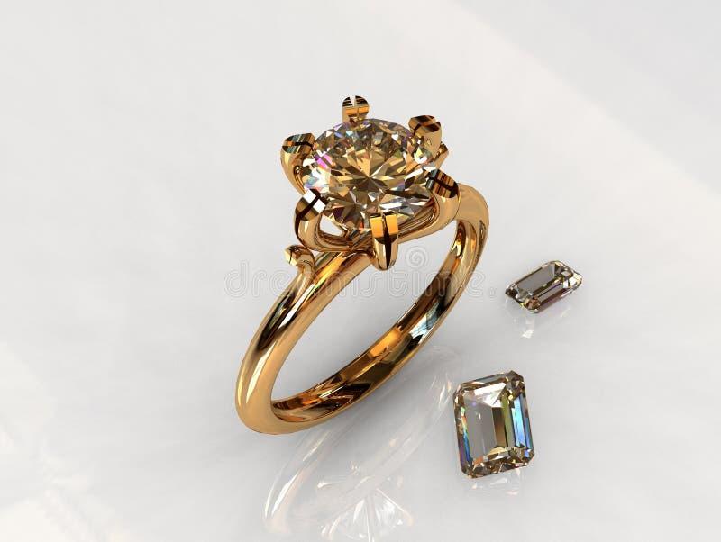 Bague de fiançailles d'or de diamant de solitaire illustration stock