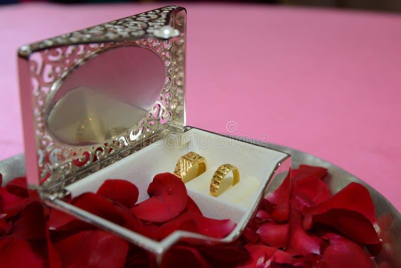 Bagues de fiançailles pour des couples dans une boîte argentée décorative image libre de droits