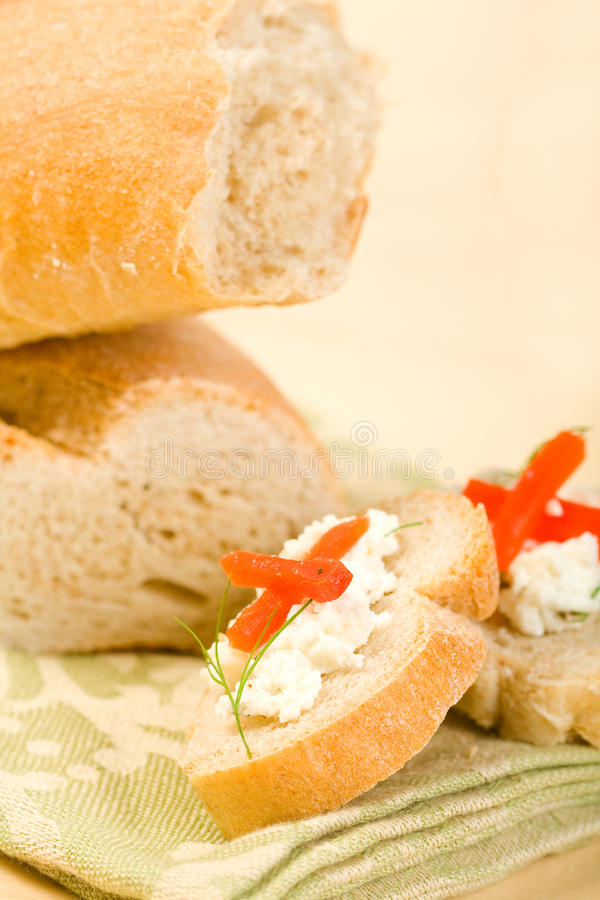 Baguette with Appetizer stock photos
