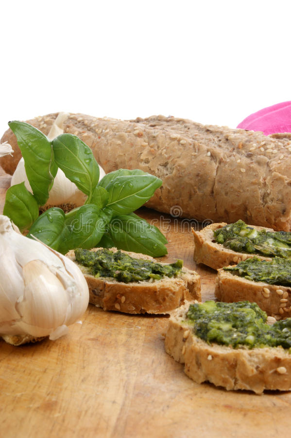 Download Baguette As Snack With Homemade Fresh Pesto Stock Photo - Image: 11509182