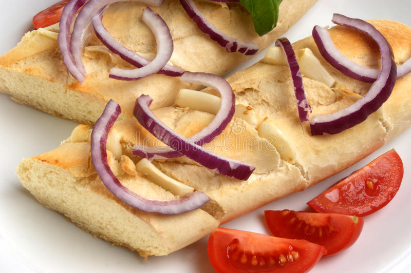 Download Baguette As Snack With Onion And Tomato Stock Photo - Image: 11493986
