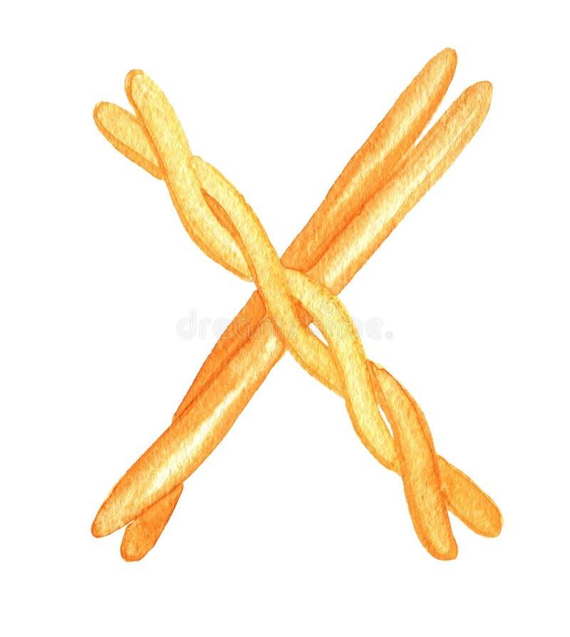 Baguette attraversate del pane come la lettera ?X ? watercolor royalty illustrazione gratis