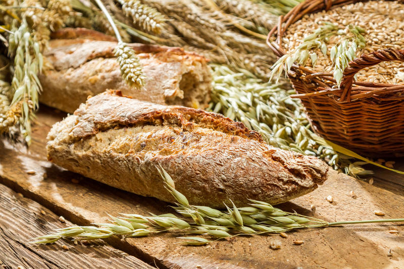 Baguette baked with wholemeal flour royalty free stock images