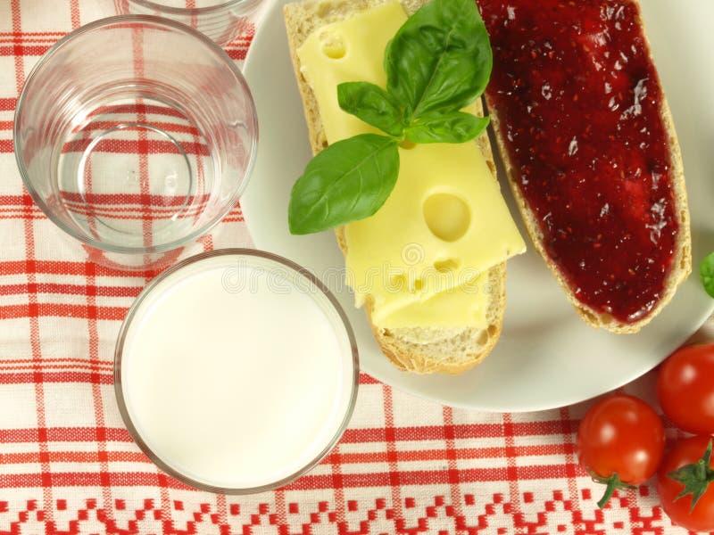 Baguette for breakfast stock photo
